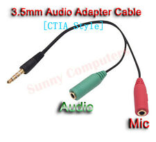 3.5mm Male to Audio Mic Female Splitter Adapter Cable For Samsung Galaxy S7 Edge