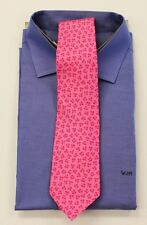 Hermes Rose on Pink Twill Tie