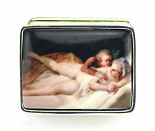 ENAMEL VICTORIAN STYLE EROTIC COUPLE PILL BOX 925 SOLID STERLING SILVER