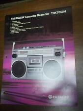 Hitachi Brochure~TRK-7050H Cassette Tape Recorder~Catalog Insert~Specifications