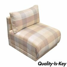 Vintage Mid Century Modern Rolled Upholstered Slipper Chair Milo Baughman Style
