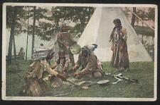 Postcard NATIVE AMERICAN INDIANS Playing The Moccasin Game view 1907