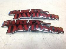 SALE Harley OEM Red & Chrome Sportster DYNA SOFTAIL FUEL GAS Tank Emblems