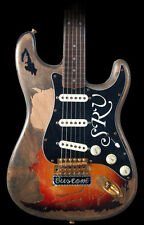 Black Strat Pickguard w SRV Script Decals Stickers Stratocaster #1 Number One