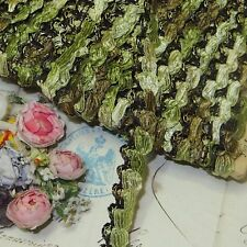 1y VTG FRENCH CELERY GREEN STRETCH TRIM ROSETTE ANTQ DOLL DRESS RIBBON JACQUARD