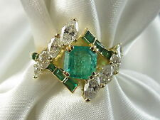 18K Emerald Diamond Ring Yellow Gold Marquise Fine Jewelry Size 8  J ROSSI $6800