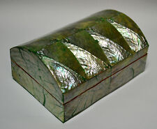 Schmuckkästchen PERLMUTT grün changierend Indien Box Schachtel innen Samt EW-368