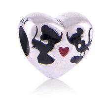 Genuine Pandora Silver Disney Mickey & Minnie Kiss Charm 791443ENMX Authentic