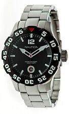 Nautica BDF 100 Black Dial Rotating Bezel Steel Men's Watch N18622G New in Box