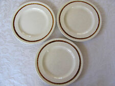 Homer Laughlin -Oatmeal Pattern-Speckled  & Brown Band on Rim - 3 Dinner Plates