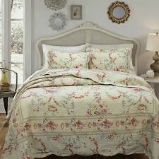 ROSE ROMANCE Full Queen QUILT SET :  PINK RED ROSES BEIGE SHABBY FLORAL COVERLET