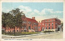 B4/ Muscatine Iowa Ia Postcard 1921 Library and YMCA Building