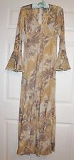 Vintage Ingrid CADO Beige Signed Print Empire waist Maxi Dress S