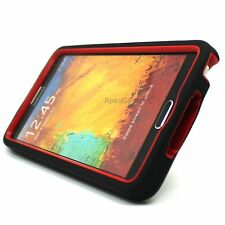For Samsung Galaxy Note 4 Black Red Rugged Tough Stand Hybrid Hard Cover Case