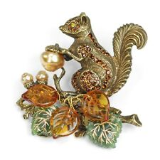 NEW SWEET ROMANCE SQUIRREL FALL HARVEST BROOCH / PIN SPARKLING CRYSTALS