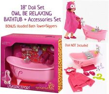 "18"" Doll Pink BATHTUB + Accessories Set OWL HOODED BATH TOWEL Fits American Girl"