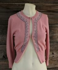 Vintage Guess Jeans Cotton/Cashmere Blend Pink Beaded Sweater Size S/P