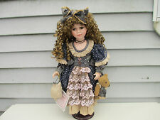 "20"" Porcelain Doll with Teddy Bear Vanessa Ricardi Series 2002 Brown Hair & Eyes"