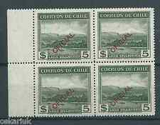 CHILE 1941-54 OFICIAL 5 pesos Volcan green block of 4 MNH wmk. 1 border sheet