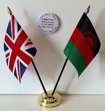 United Kingdom & Malawi Double Friendship Table Flags & Badge Set