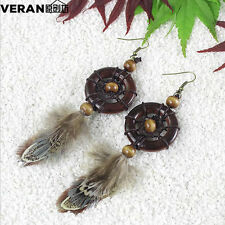 New Handmade  Exquisite Solid wood ring Dreamcatcher Feather Retro Style Earring