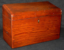 "c1900 desk letter box or caddy, European, USA heart yellow pine, fitted int,9""w,"