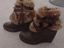 NEW SeXy $126 BABYPHAT Brown Strappy Faux FUR Ankle BOOTS -7.5  NWT
