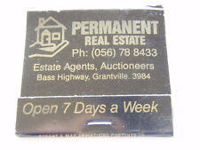 PERMANENT REAL ESTATE AGENTS BASS HWY GRANTVILLE 056 788433 BLACK MATCHBOOK