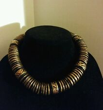 Large Thick Vintage Tribal black & Gold Flaked Disk Collar Statement Necklace