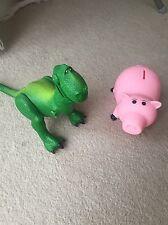 Disney Pixar Toy Story Figures Rex Dinosaur and Hamm Piggy Bank Good Condition