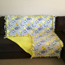 Handmade Yellow and Grey Owls No Sew Fleece Blanket Backed in Yellow