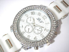 Iced Out Bling Bling Big Case Rubber Band Men's Watch White Item 4284