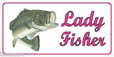 LADY FISHER FISHING PINK CAR METAL LICENSE PLATE AUTO TAG