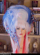 SIN CITY WIGS WILD FUNKY COSTUME BIG WIG 4TH OF JULY RED WHITE BLUE LONG TEASED