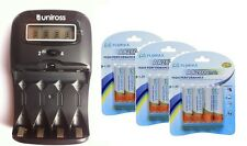 UNiROSS LCD 1-2 HOUR AA/AAA  Battery CHARGER& 12 x AA 2800 mAh Rechargeable Batt