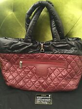 Authentic Chanel Cocoon Nylon Maroon Black Reversible Large Tote EUC Worn Once