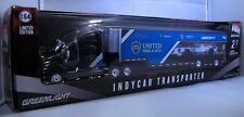 GREENLIGHT COLLECTIBLES 1:64 SCALE DIECAST BLACK AND BLUE INDYCAR TRANSPORTER