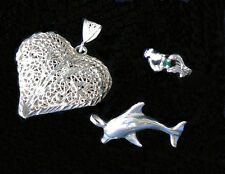 Vintage DECO Heart Emerald DOLPHIN Ring Pendant STERLING SILVER Jewelry LOT