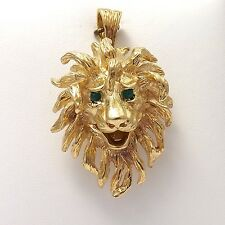Vintage Solid 14k Gold Geneve Watch 3D Lion Head Jungle King Charm Pendant 27gr
