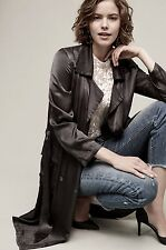 NWT Anthropologie Ghost Dark Gray Satin Belted Trench Midi Duster Coat Jacket L