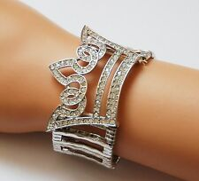 Crown Theme Stretch Bracelet / Silver-tone w Clear Crystals / Red Hat