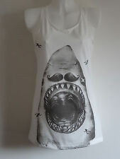 Pirate Shark with Moustache Vest Top / Dress - Size 10-12 - White Navy Nautical