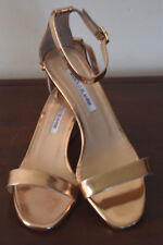 Manolo Blahnik Chaos Gold Leather Low-Heel Ankle Strap Sandal Size 38