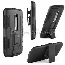 Armor Impact Holster Hard Case Stand Belt Clip Cover For Motorola Moto G 3rd Gen