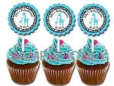 30 ct blue boy giraffe safari cupcake toppers baby shower favors decoration
