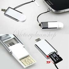 Mini 2 en 1 Adaptador OTG Lector Tarjetas Memoria Micro USB 2.0 SD TF Phone PC