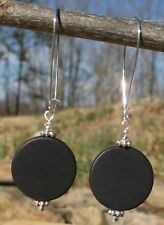 Huge Matte Black Onyx Coin & Sterling Silver Plated Earrings ~* Sundance Artisan