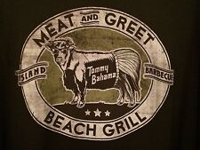 NEW TOMMY BAHAMA Black Cotton Tee Meat & Greet Beach Grill MENS T SHIRT LARGE L