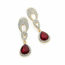 ELEGANT RED TEAR AB RAINBOW DIAMANTE CRYSTAL FORMAL EARRING STUD POST 5.5cm DROP