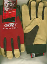 Rugged Wear Men Hi-Dexterity Red-Beige Grain Pigskin Leather Work/Drive Glove L